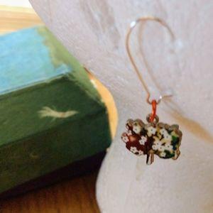 Enamel tree blossom earrings OOAK handmade NWT